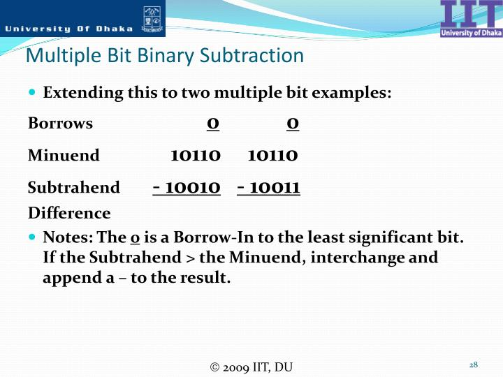 Multiple Bit Binary Subtraction