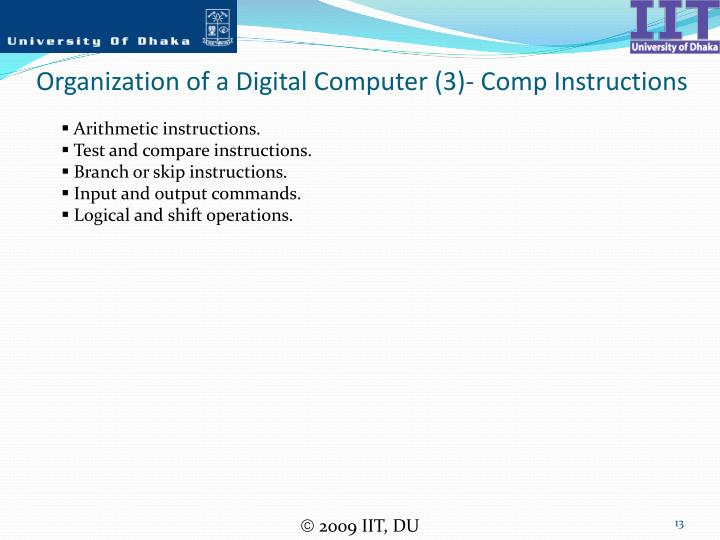 Organization of a Digital Computer (3)- Comp Instructions