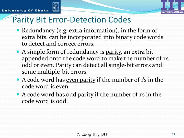Parity Bit Error-Detection Codes