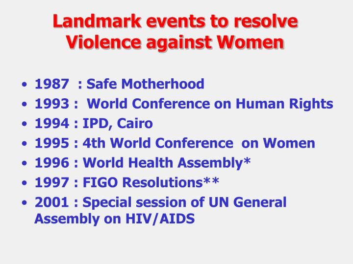 Landmark events to resolve                                       Violence against Women