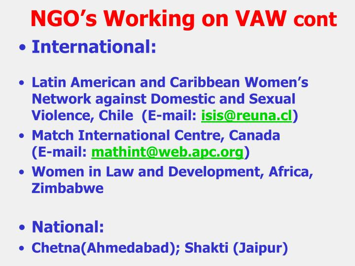 NGO's Working on VAW