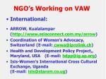 ngo s working on vaw
