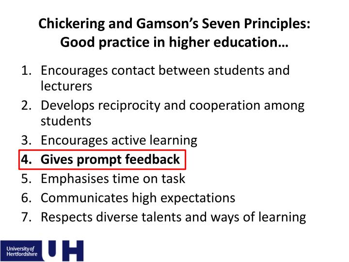 Chickering and gamson s seven principles good practice in higher education