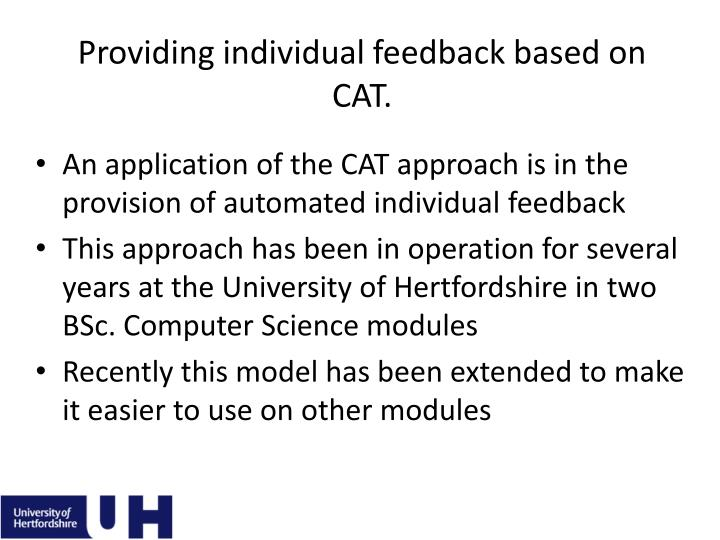 Providing individual feedback based on CAT.