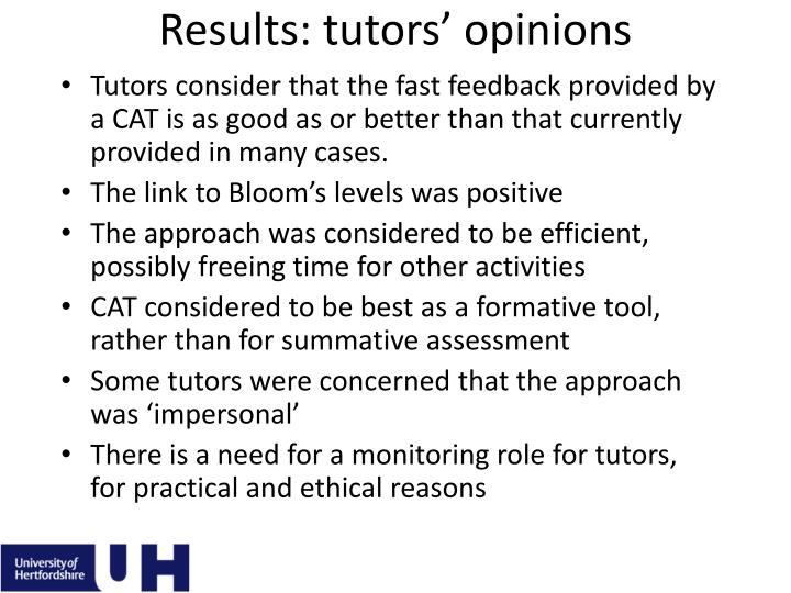 Results: tutors' opinions