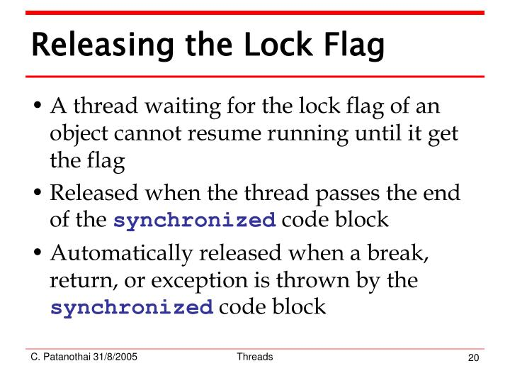 Releasing the Lock Flag
