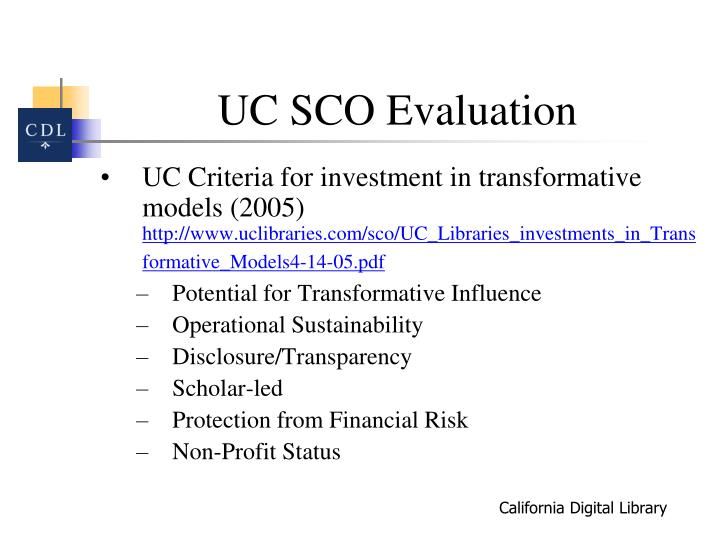 UC SCO Evaluation