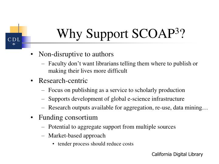 Why Support SCOAP