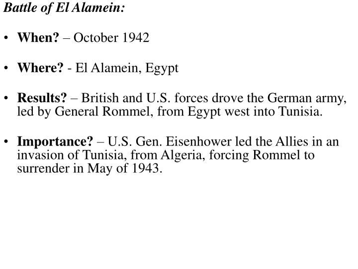 Battle of El Alamein: