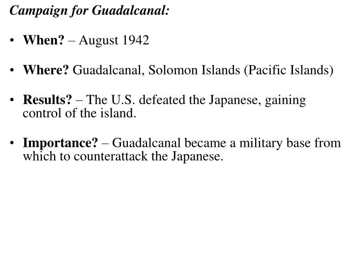 Campaign for Guadalcanal: