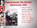appeasement the munich agreement 1938