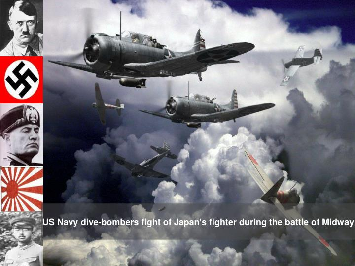 US Navy dive-bombers fight of Japan's fighter during the battle of Midway