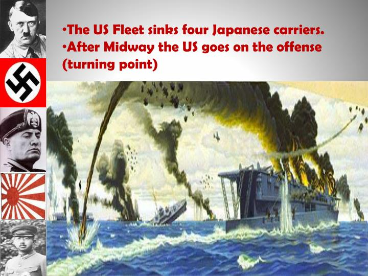 The US Fleet sinks four Japanese carriers.