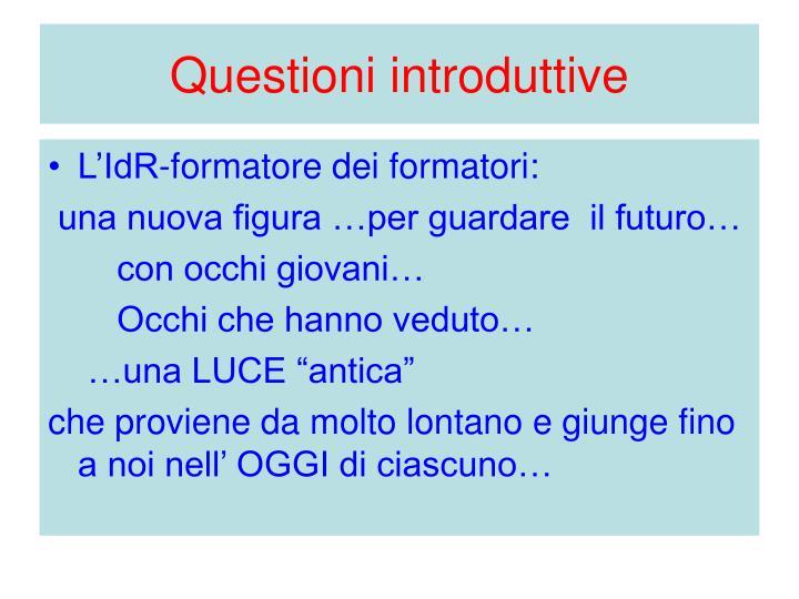 Questioni introduttive