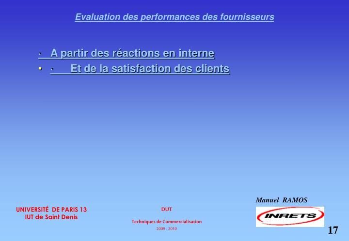 Evaluation des performances des fournisseurs