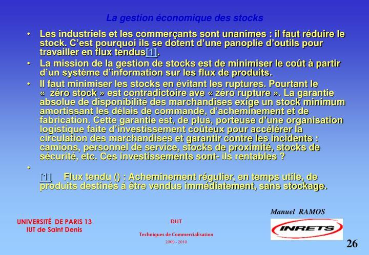 La gestion économique des stocks