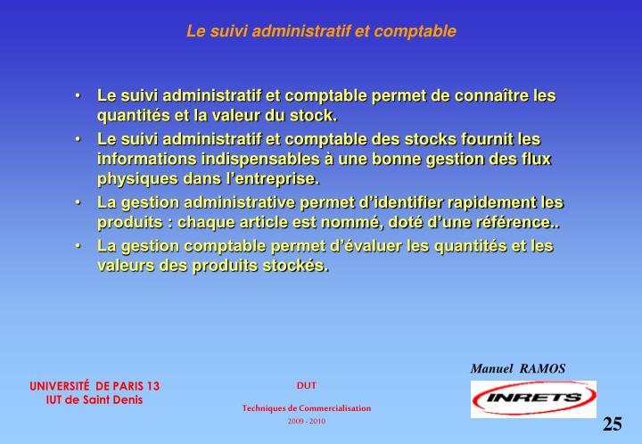 Le suivi administratif et comptable