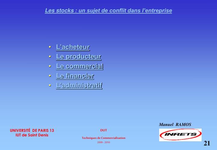 Les stocks: un sujet de conflit dans l'entreprise