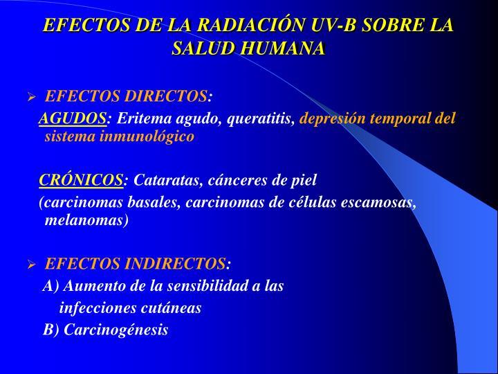 EFECTOS DE LA RADIACIÓN UV-B SOBRE LA SALUD HUMANA