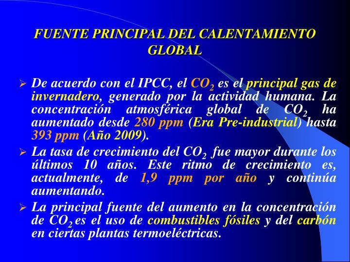 FUENTE PRINCIPAL DEL CALENTAMIENTO GLOBAL