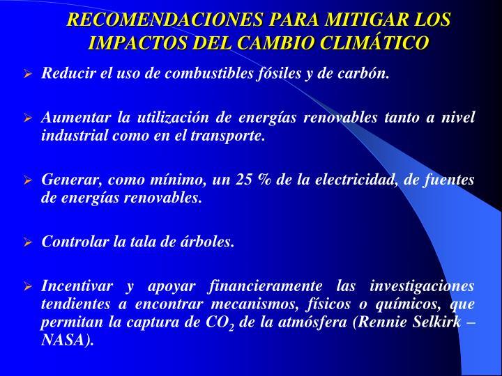 RECOMENDACIONES PARA MITIGAR LOS IMPACTOS DEL CAMBIO CLIMÁTICO