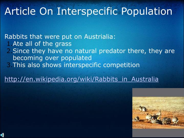 Article On Interspecific Population
