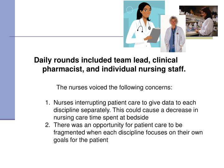 Daily rounds included team lead, clinical pharmacist, and individual nursing staff.