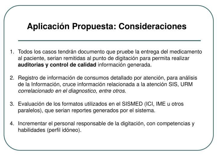 Aplicación Propuesta: Consideraciones