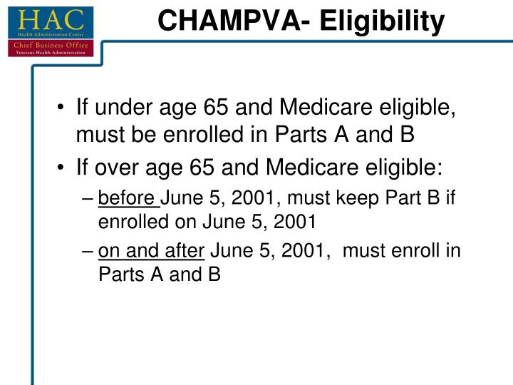 If under age 65 and Medicare eligible, must be enrolled in Parts A and B