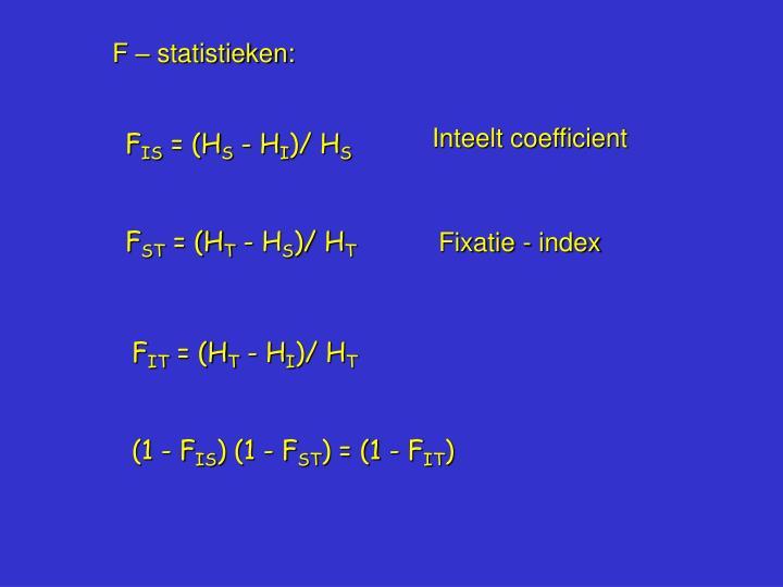 F – statistieken: