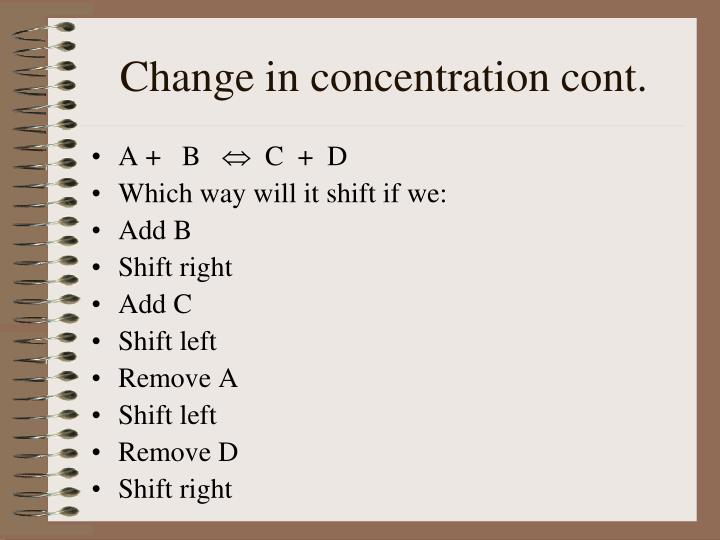 Change in concentration cont.