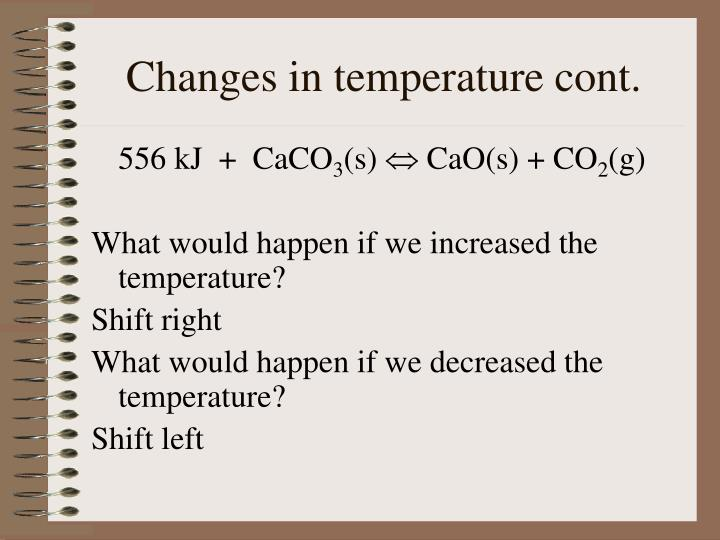 Changes in temperature cont.