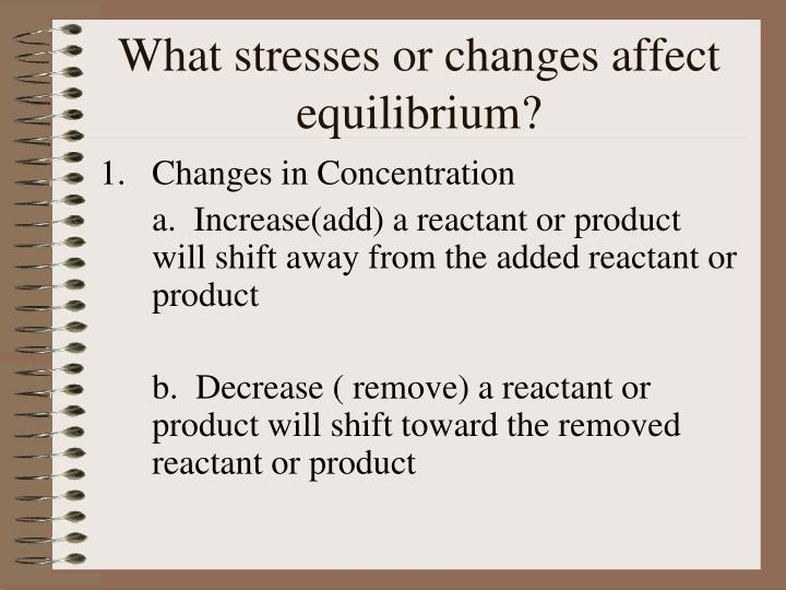What stresses or changes affect equilibrium?