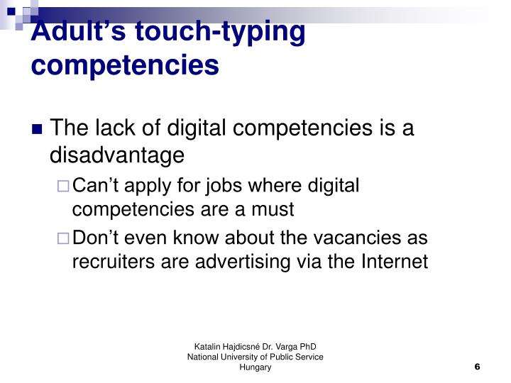 Adult's touch-typing competencies