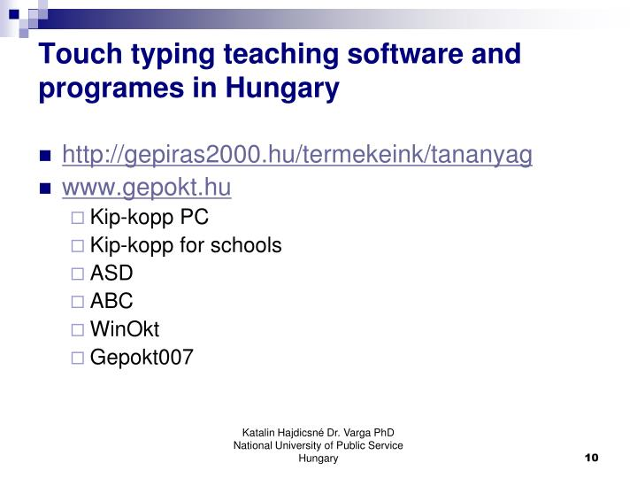 Touch typing teaching software and programes in Hungary