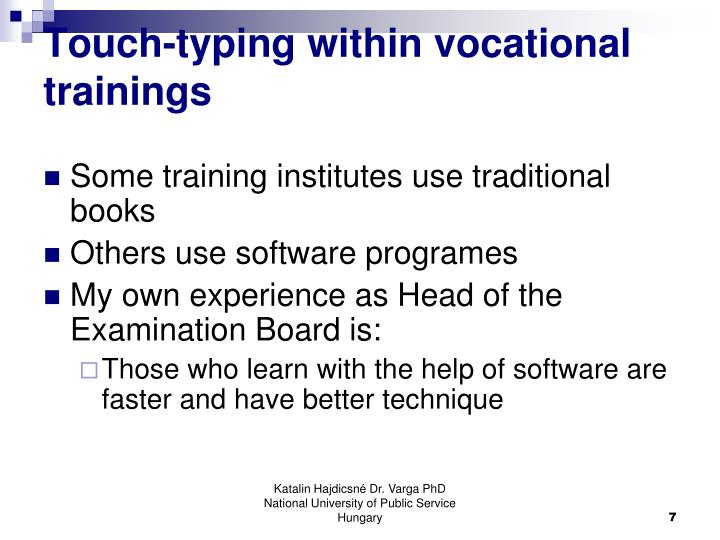Touch-typing within vocational trainings