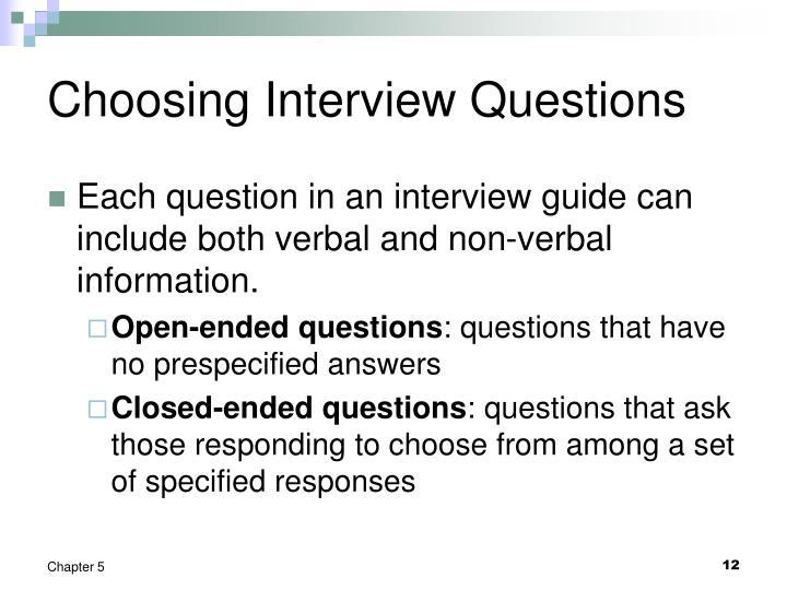 Choosing Interview Questions