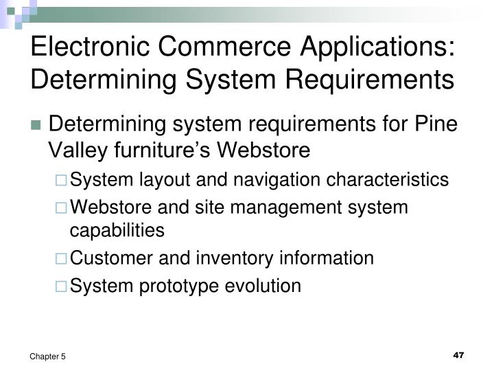 Electronic Commerce Applications: Determining System Requirements