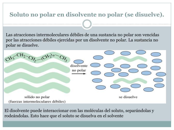 Soluto no polar en disolvente no polar (se disuelve).