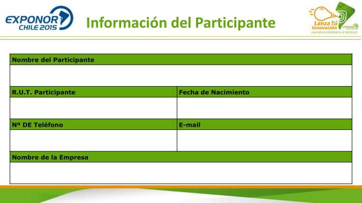 Información del Participante