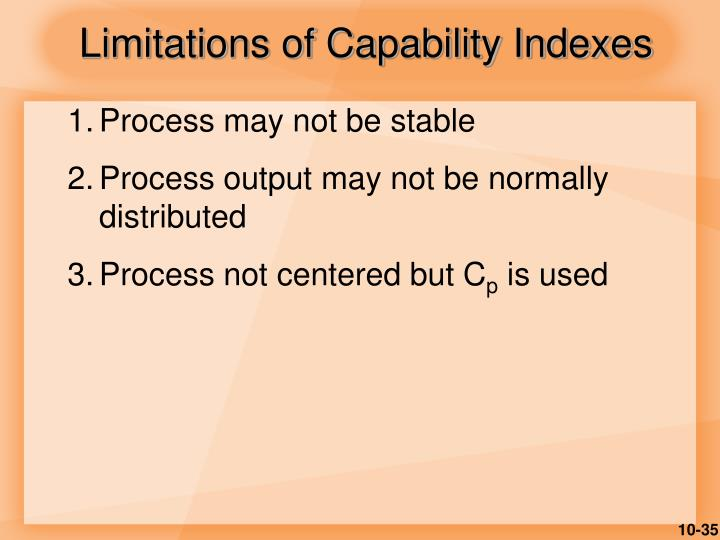 Limitations of Capability Indexes