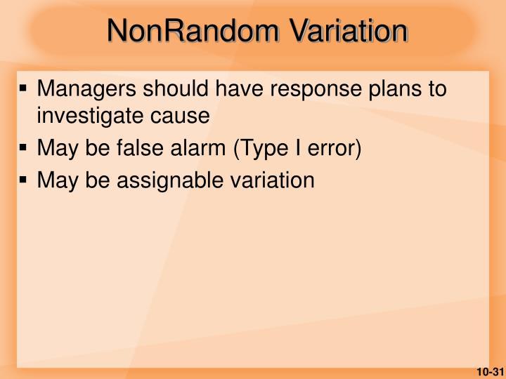 NonRandom Variation