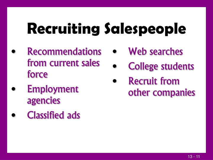 Recruiting Salespeople