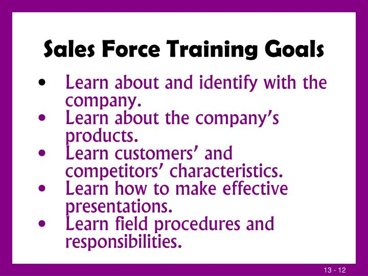 Sales Force Training Goals