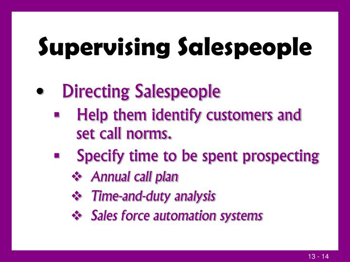 Supervising Salespeople