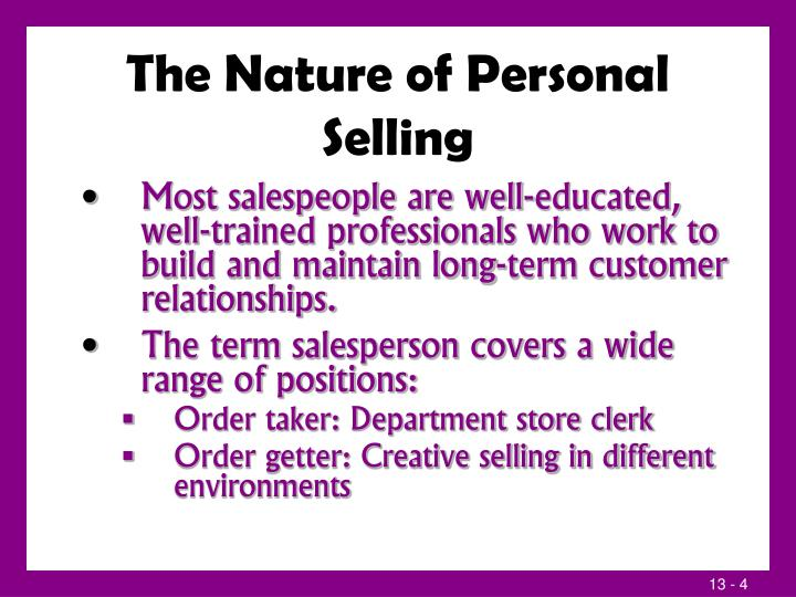The Nature of Personal Selling