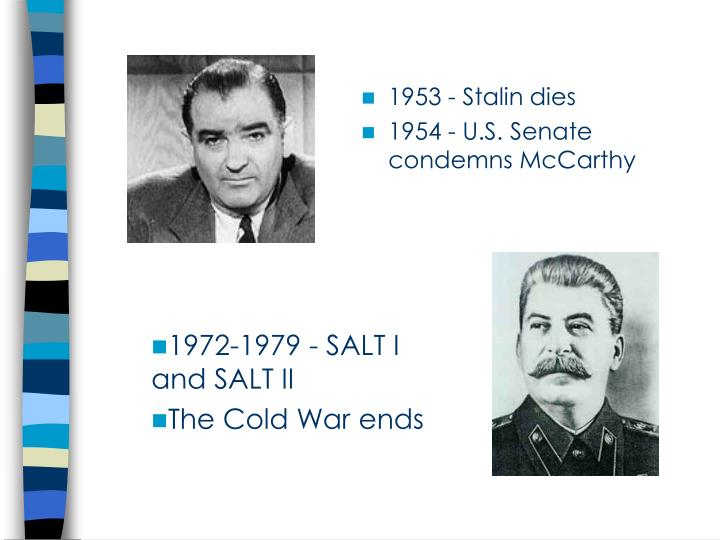 1953 - Stalin dies