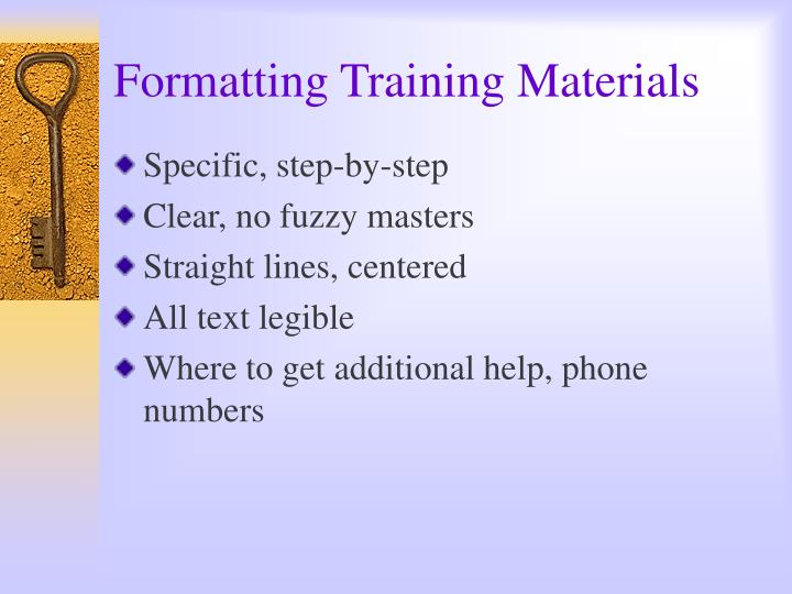 Formatting Training Materials
