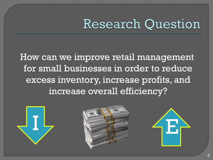 research question on inventory management Effective inventory analysis and profitability with smart inventory management strategies based on tried and proven methods and best practices inventory is the largest and probably the most important asset of many distributors more.