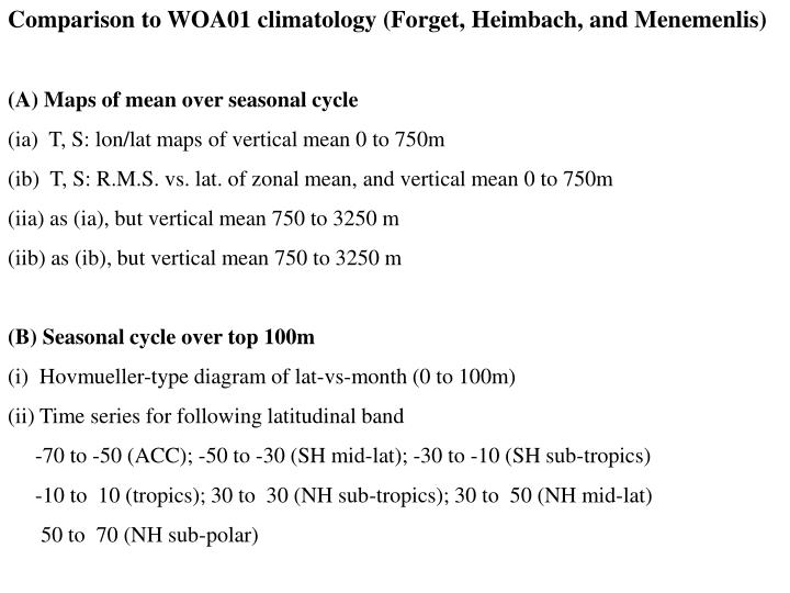Comparison to WOA01 climatology (Forget, Heimbach, and Menemenlis)